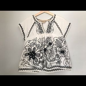Anthropologie Embroidered Rheya Tee